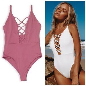 LAST ONE | Mauve M seamless one piece swimsuit